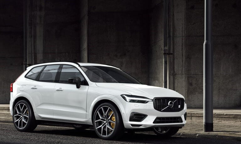 2020 Volvo XC60 in white parked on the side of the street