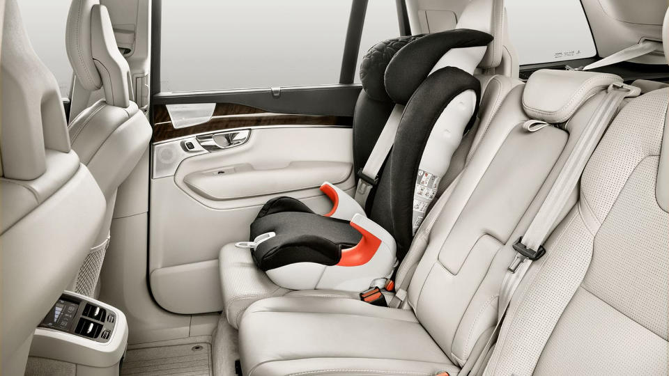 Car seat in the back of a 2018 Volvo XC90.