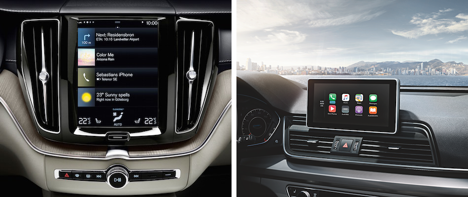 A Volvo XC60 infotainment system side by side with a Audi Q5 Infotainment system