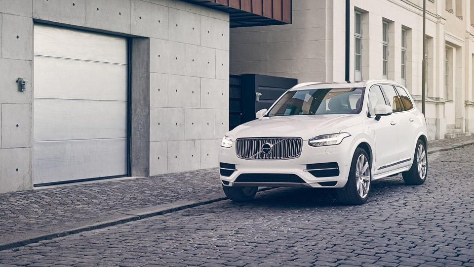 A silver 2018 Volvo XC90 parked on a street