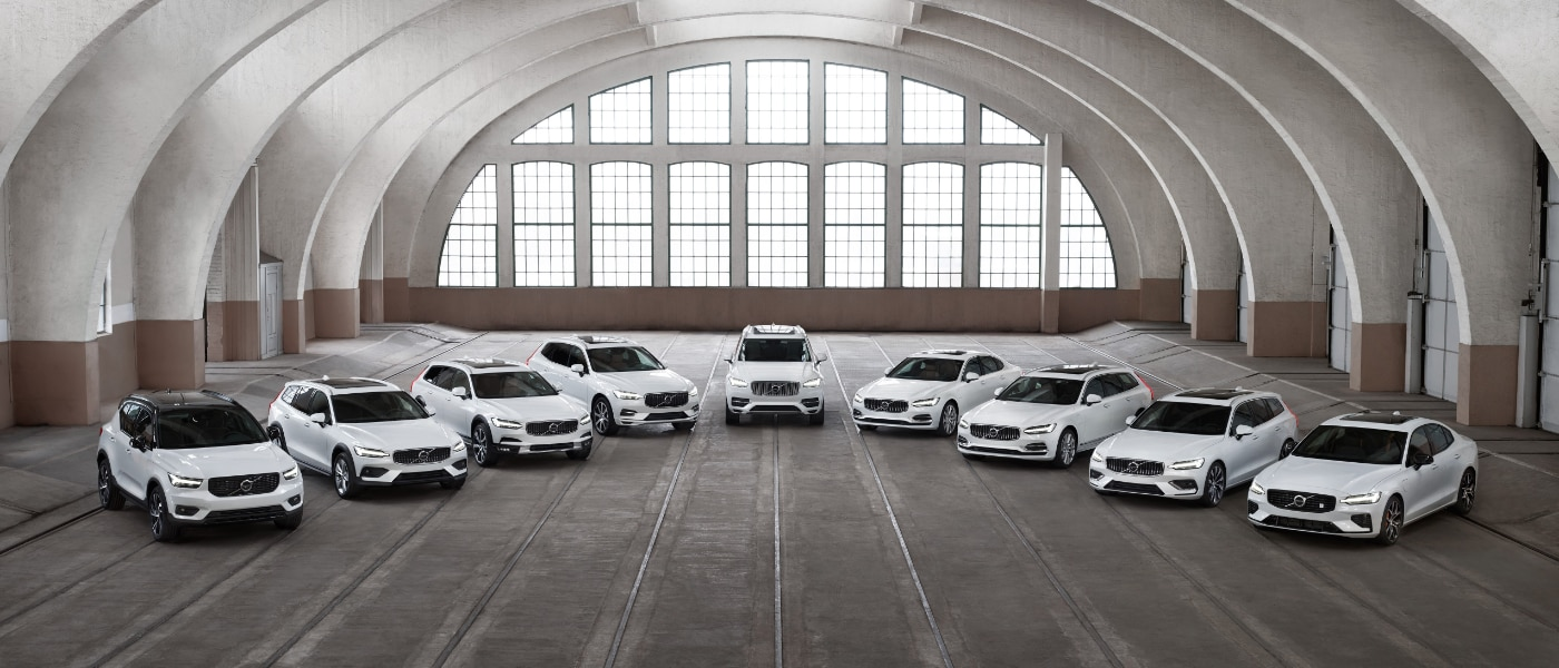 2020 Volvo Lineup Parked in a Warehouse