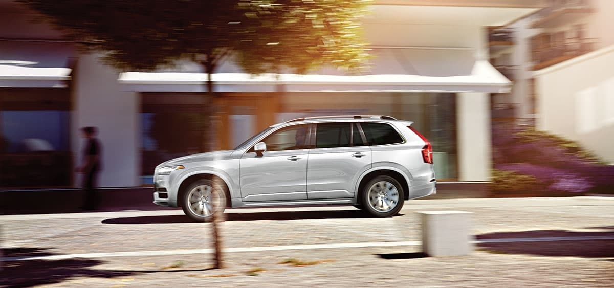 Side view of a silver 2019 Volvo XC90