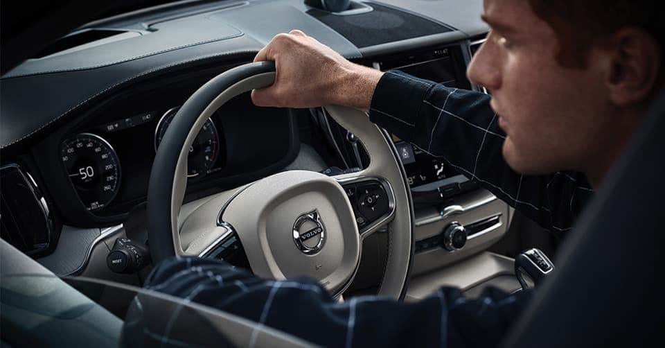 Interior shot of a man driving a 2019 Volvo XC60