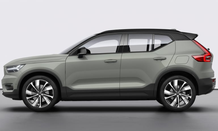 2020 Volvo XC40 Recharge in green side view of diriver side