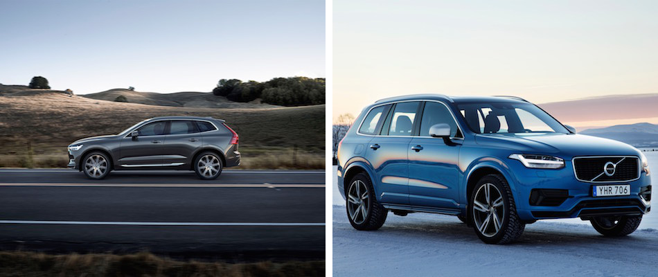 A Volvo XC60 driving down an open road and a blue Volvo XC90 parked on a snowy road