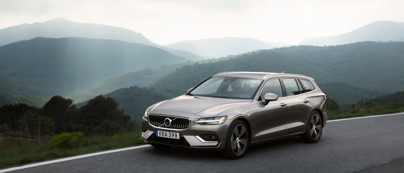 Grey 2019 Volvo V60 on road