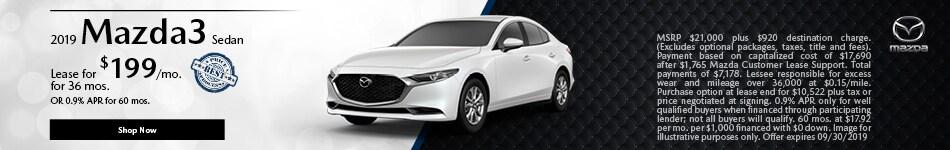 2019 Mazda3 September Offer