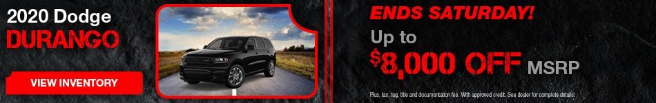 February 2020 Dodge Durango $8,000 Off MSRP