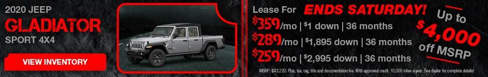 February 2020 Jeep Gladiator Lease