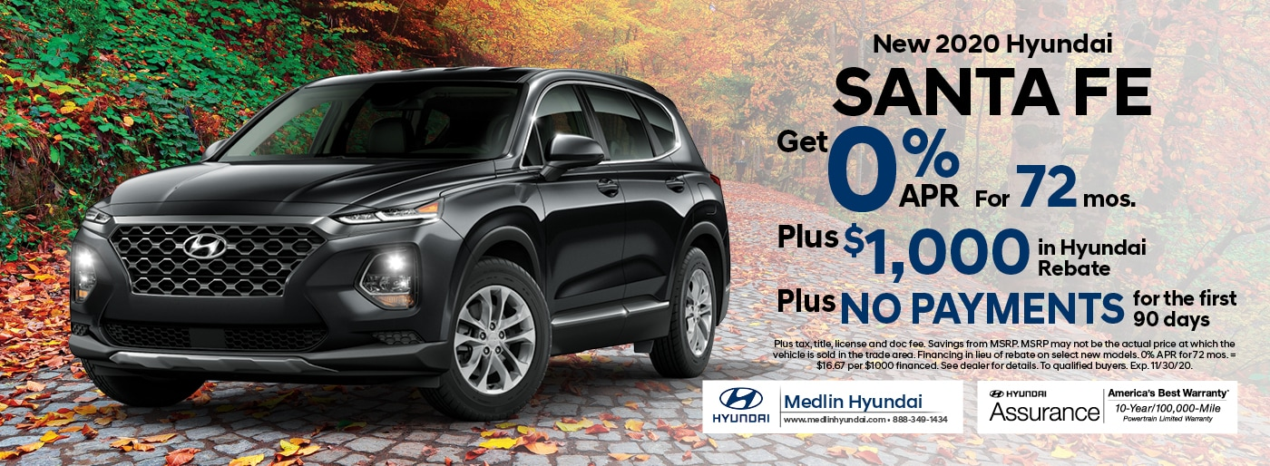 2020 Hyundai Santa Fe finance offer, 0% APR for 72 mos. Plus $1,000 in Hyundai rebate | Rocky Mount, NC