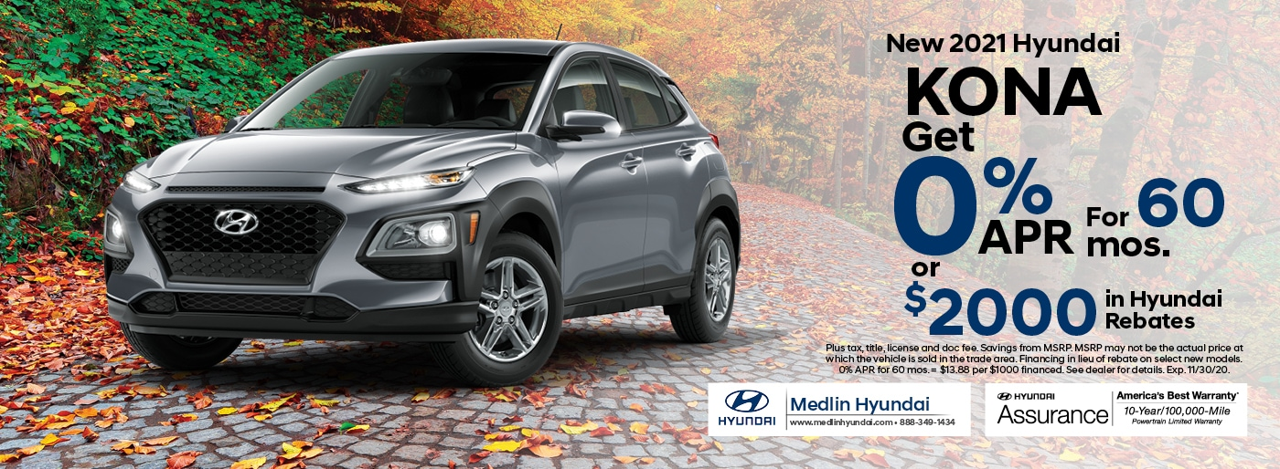 2021 Hyundai Kona finance offer, 0% APR for 60 mos. or $2,000 in Hyundai rebates | Rocky Mount, NC