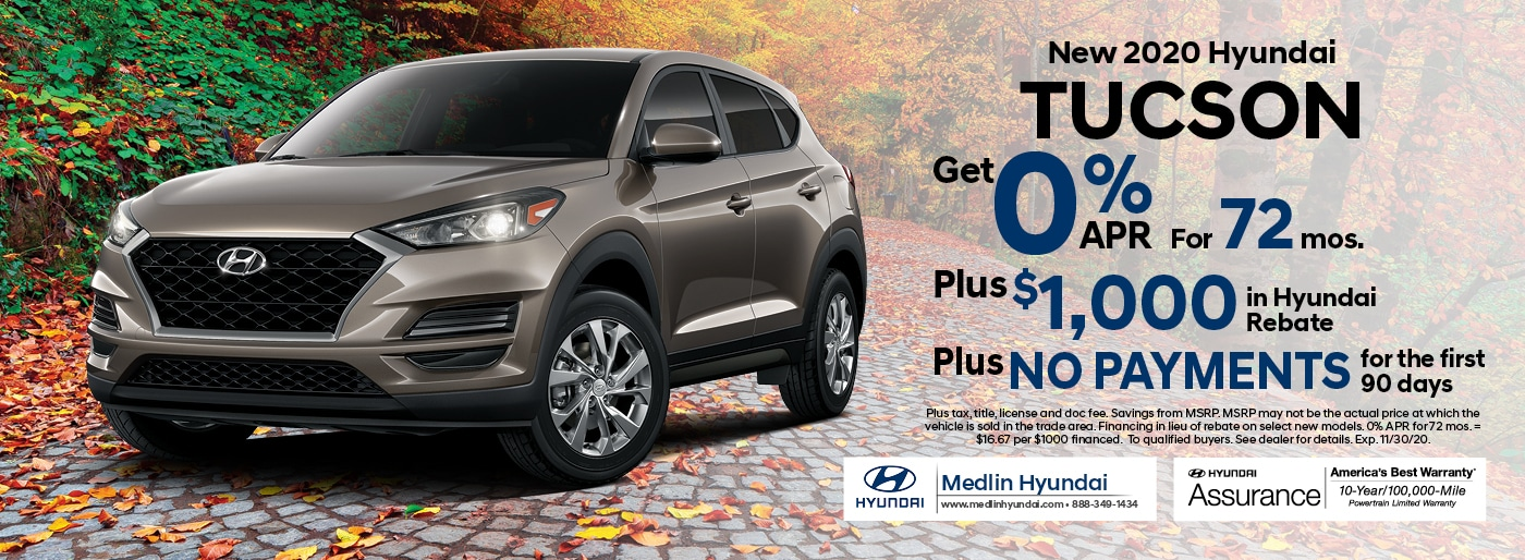 2020 Hyundai Tucson finance offer, 0% APR for 72 mos. Plus $1,000 in Hyundai rebate | Rocky Mount, NC