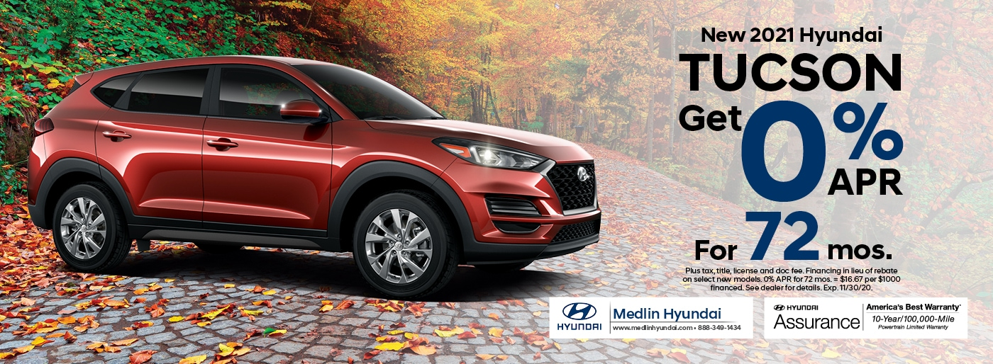 2021 Hyundai Tucson finance offer, 0% APR for 72 mos. | Rocky Mount, NC