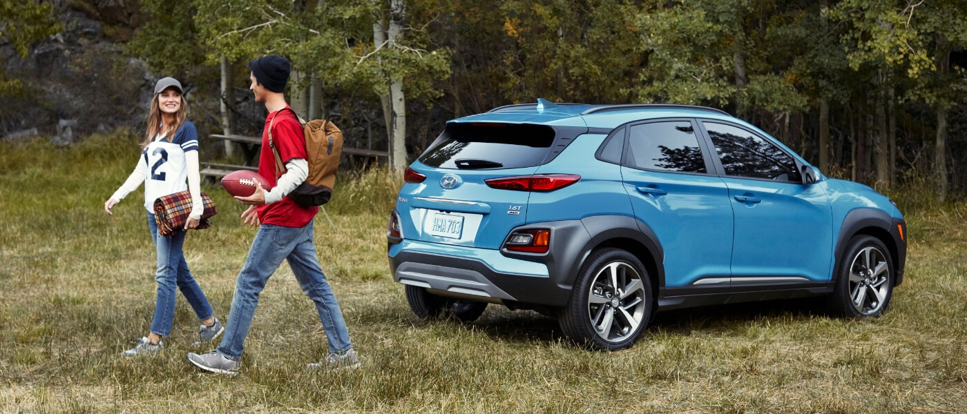 2021 Blue Hyundai Kona Parked in a Forest