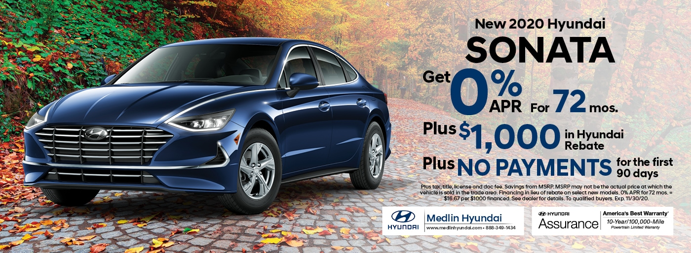 2020 Hyundai Sonata finance offer, 0% APR for 72 mos. Plus $1,000 in Hyundai rebate | Rocky Mount, NC