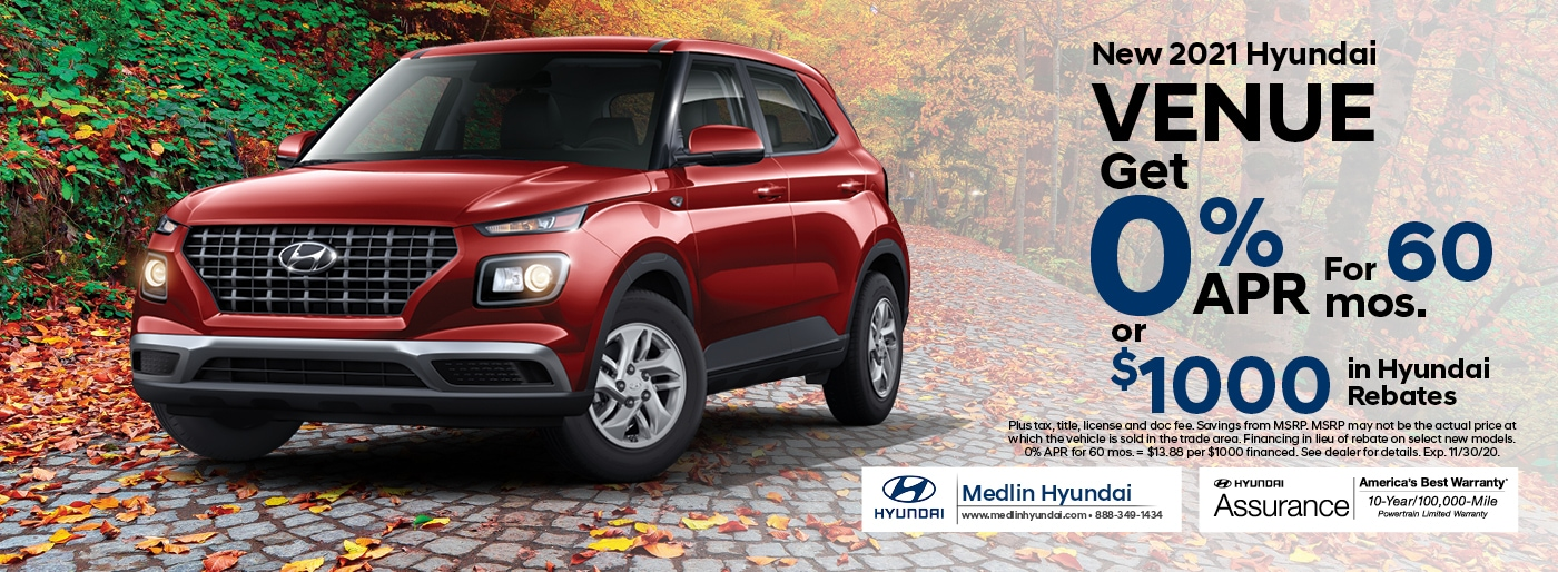2021 Hyundai Venue finance offer, 0% APR for 60 mos. or $1,000 in Hyundai rebates | Rocky Mount, NC