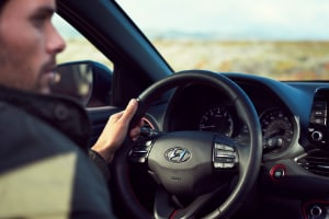 Driver behind the wheel of 2018 Hyundai Elantra GT