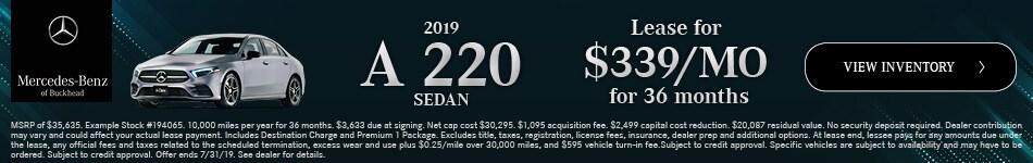 2019 A 220 Sedan - July Offer