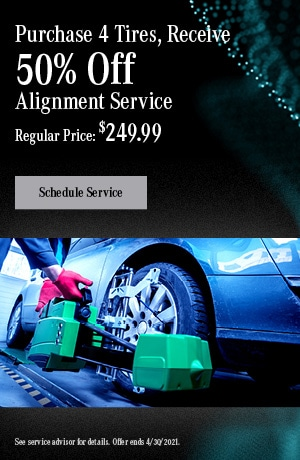Purchase 4 Tires, Receive 50% Off Alignment Service | May