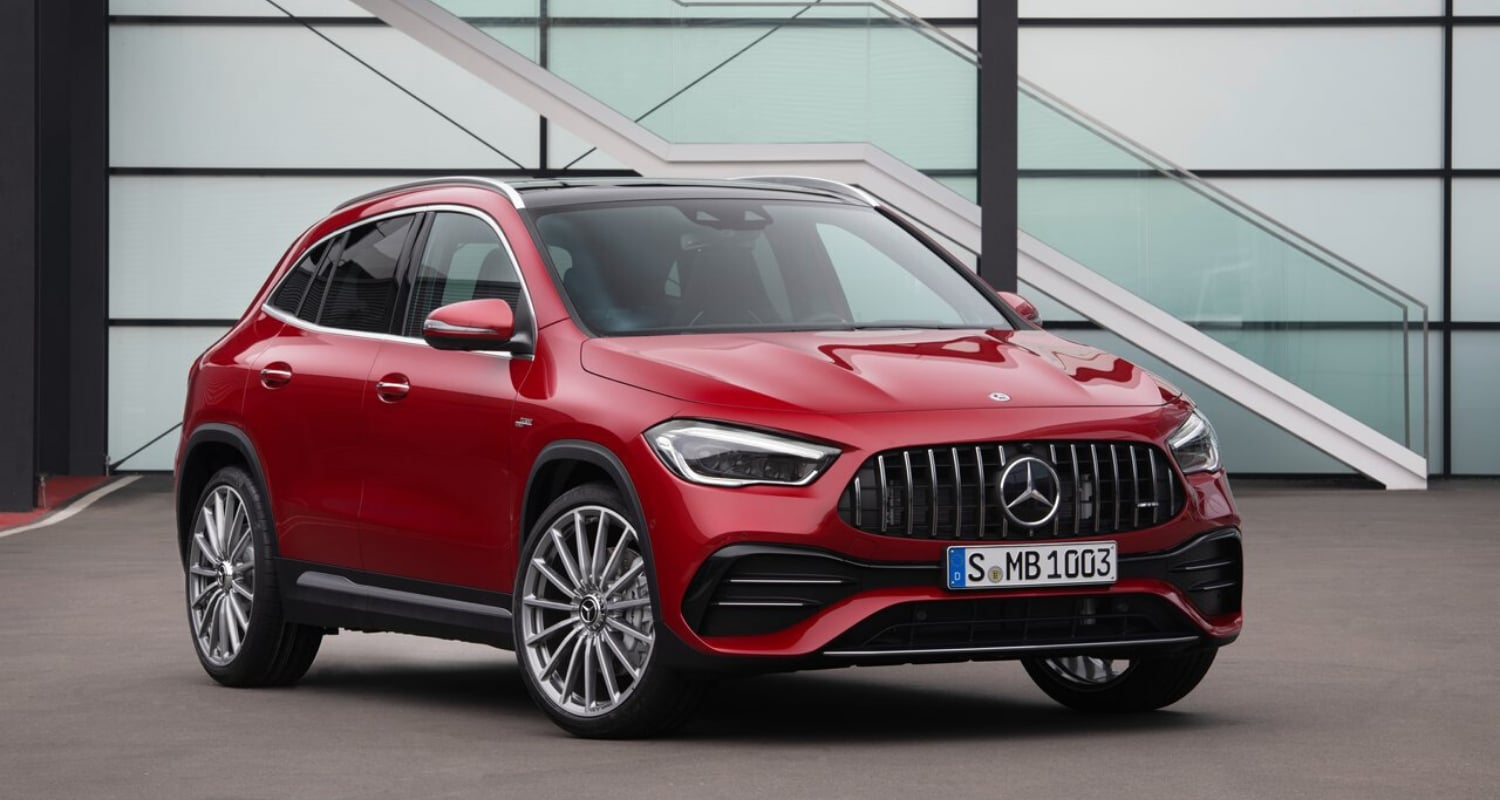 Upcoming 2021 Mercedes-AMG GLA 35 SUV exterior in Jupiter Red exterior color