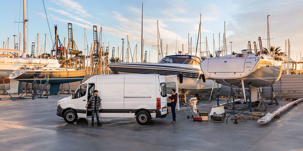 Mercedes-Benz Sprinter Van at the dock loading up gear