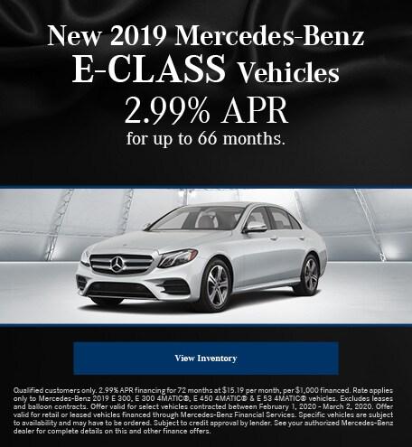 February New 2019 Mercedes-Benz E-Class Vehicles Finance Offer