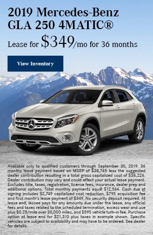 September 2019 Mercedes-Benz GLA 250 4MATIC® Lease Offer