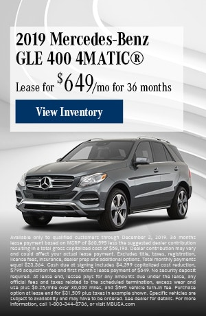 November 2019 Mercedes-Benz GLE 400 4MATIC® Lease Offer