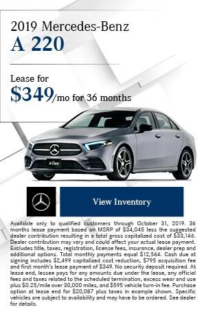 October 2019 Mercedes-Benz A 220 Offer