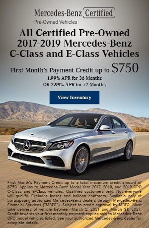 All CPO 2017-2019 Mercedes-Benz C-Class and E-Class Vehicles - March