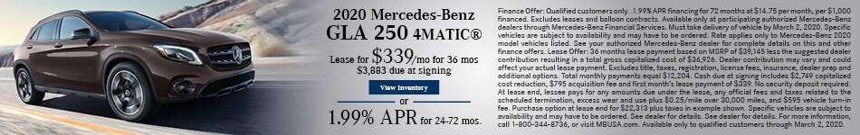 February 2020 Mercedes-Benz GLA 250 4MATIC