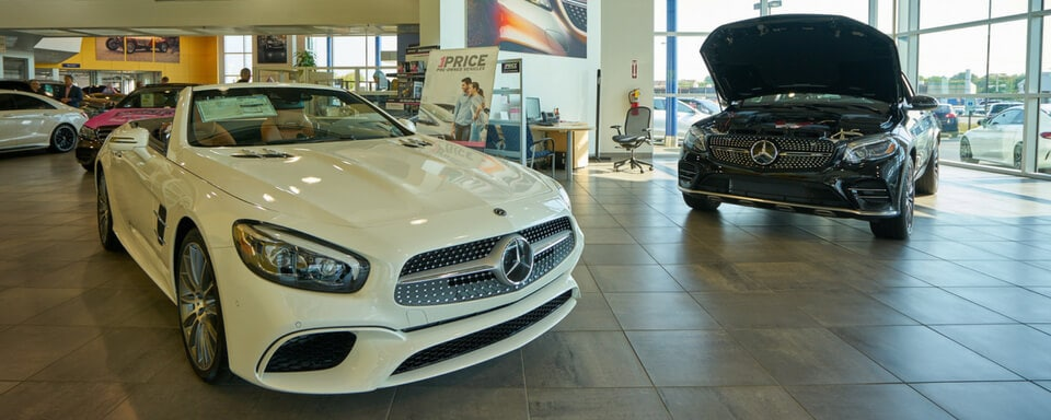 Mercedes-Benz of Naperville finance center and showroom with new Mercedes-Benz vehicles for sale