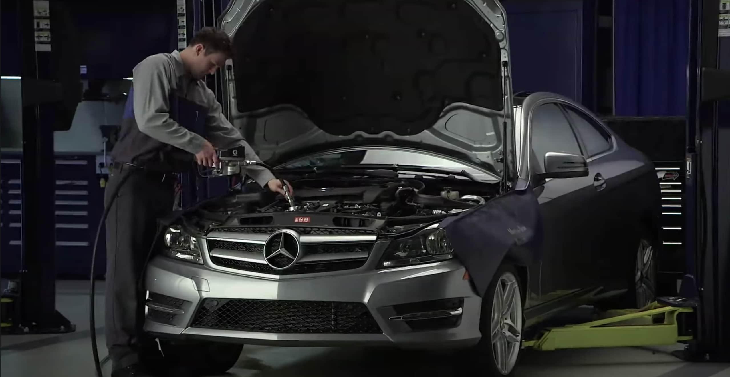 Mercedes-Benz C-Class at service bay