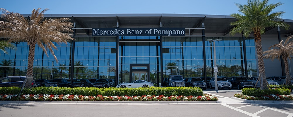 Exterior view of Mercedes-Benz of Pompano serving Pompano Beach