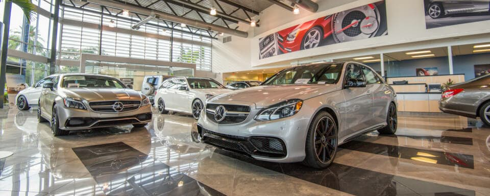 Mercedes-Benz of Sarasota finance center and showroom with new Mercedes-Benz vehicles for sale