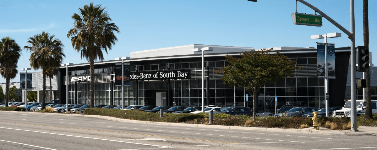 Exterior view of Mercedes-Benz of South Bay during the day