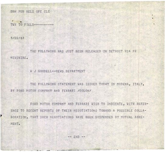 1963 Press release from Ford, announcing end of negotiations to purchase Ferrari.