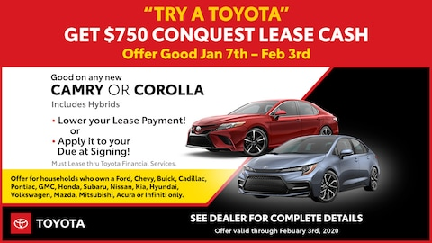 January 2020 Toyota Conquest Lease Cash