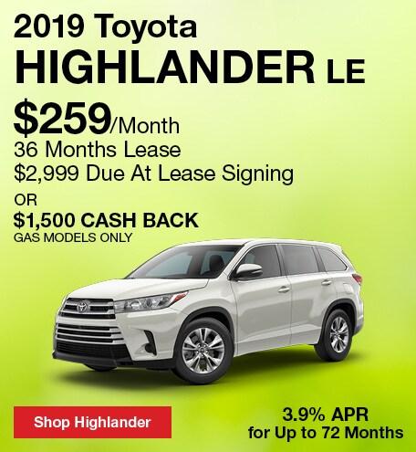 April 2019 Toyota Highlander