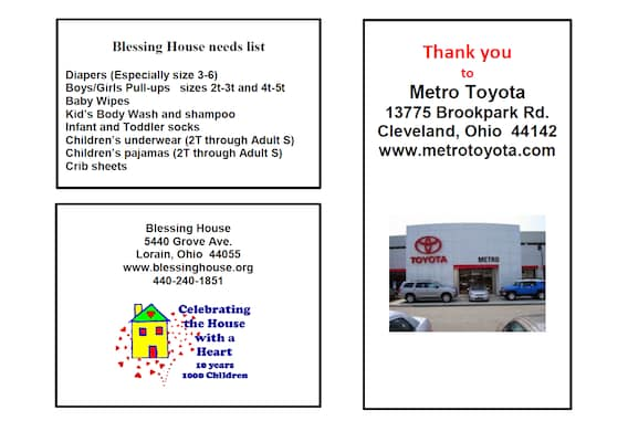 Pull A Part Cleveland Ohio >> Blessing House Cleveland Support Metro Toyota Serves Brunswick