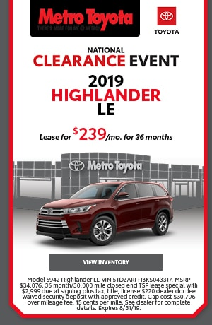 August | 2019 |Toyota/Highlander | Lease
