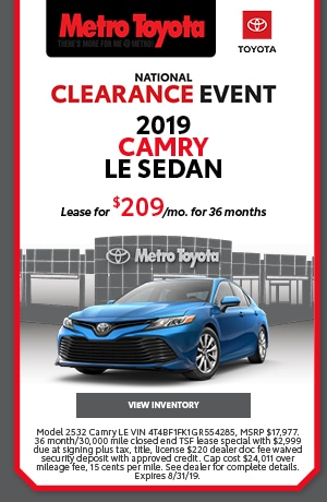 August | 2019 | Toyota/Camryl | Lease