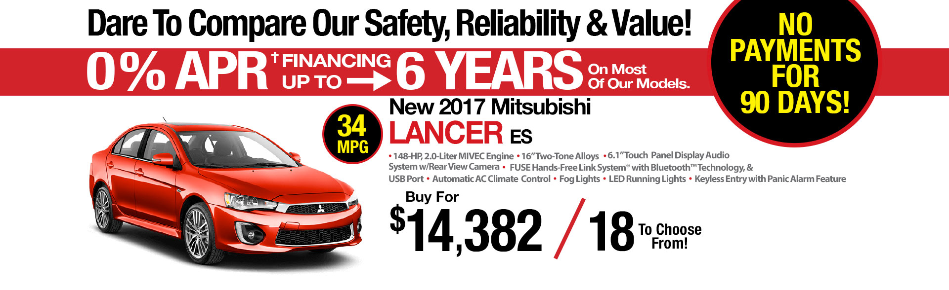 New Mitsubishi Lancer Lease Special at Michaud Mitsubishi