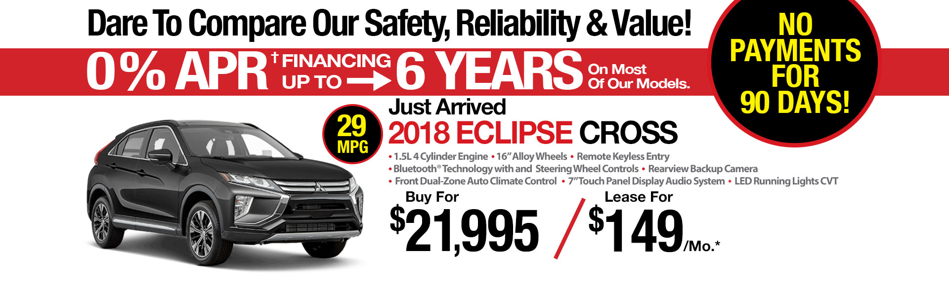 New 2018 Mitsubishi Eclipse Cross AWC Lease Special