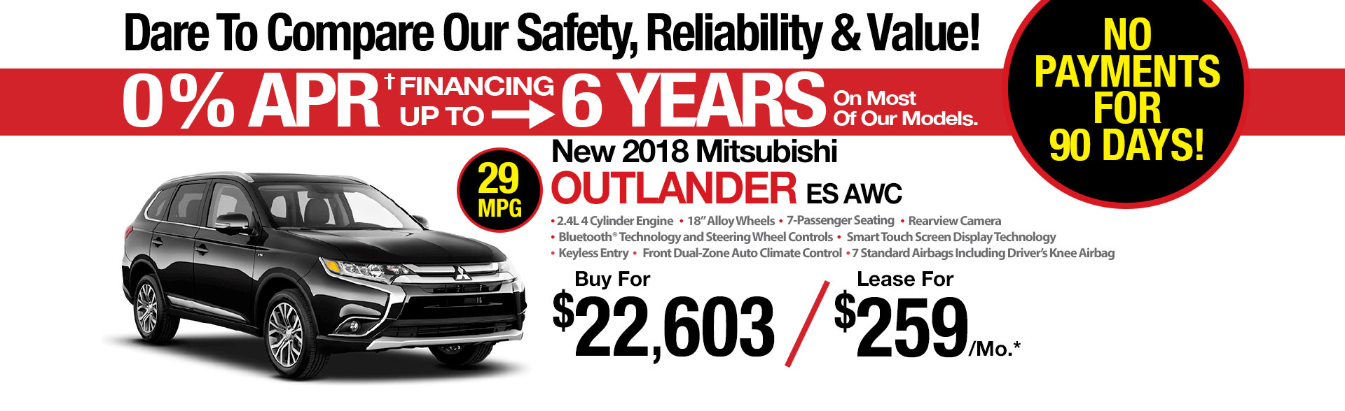 New Mitsubishi Outlander ES AWC Lease Special at Michaud Mitsubishi