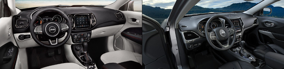 2018 Jeep Compass & Jeep Cherokee side by side interior image