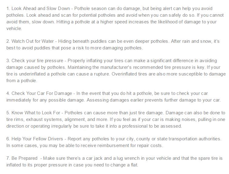 Chevy Pothole Tips