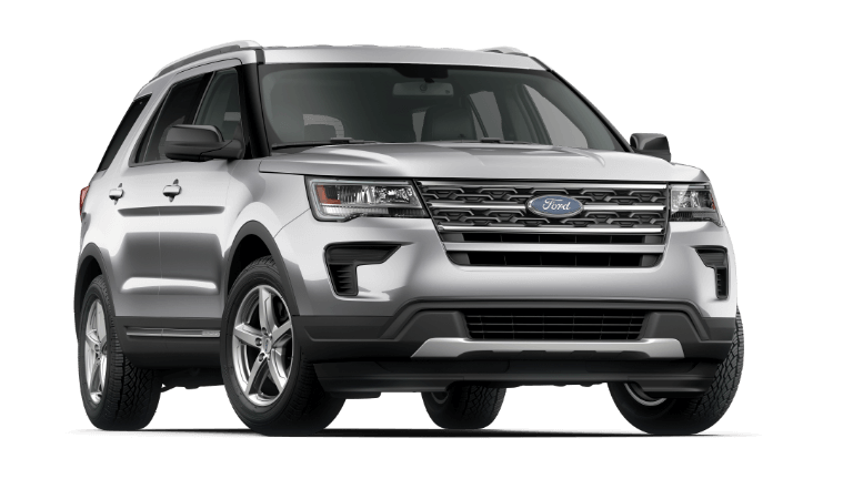 A silver 2019 Ford Explorer