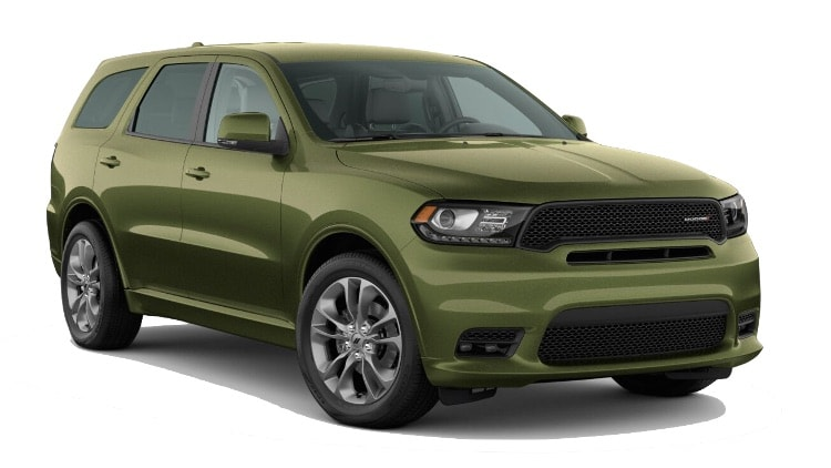 A green 2020 Dodge Durango GT Plus