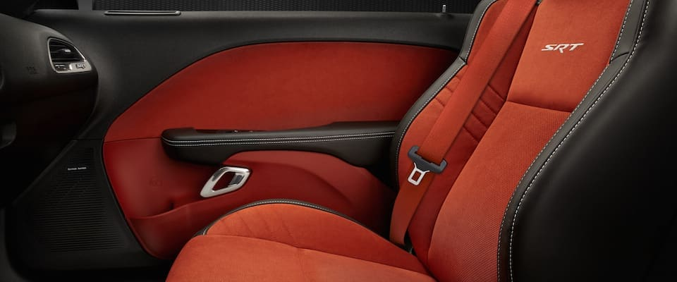 The red seating in the 2019 Dodge Challenger